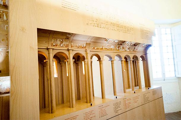 A model of Saint Savin Church with frescoes