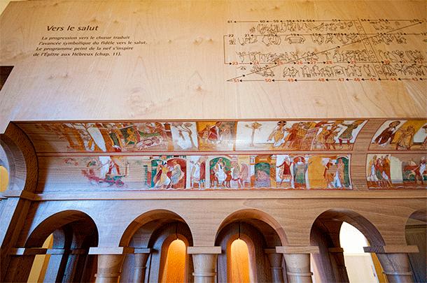 Close-up of the frescoes on the model of Savin Savin
