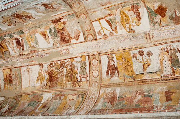 The tower of Babel is one of the more recognisable bible stories included in Saint Savin's frescoes