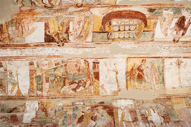 Noah's Ark is also easy to spot on Saint Savin's ceiling