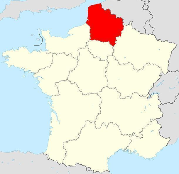 The new region temporarily called Nord-Pas-de-Calais-Picardie, France
