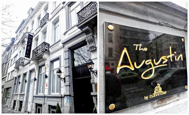 The elegant façade of the Augustin boutique hotel, in Brussels, Belgium