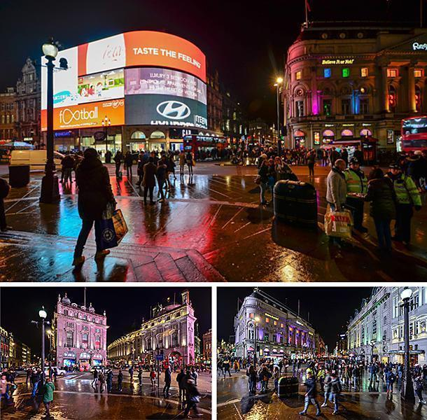Admire the bustling Picadilly Circus