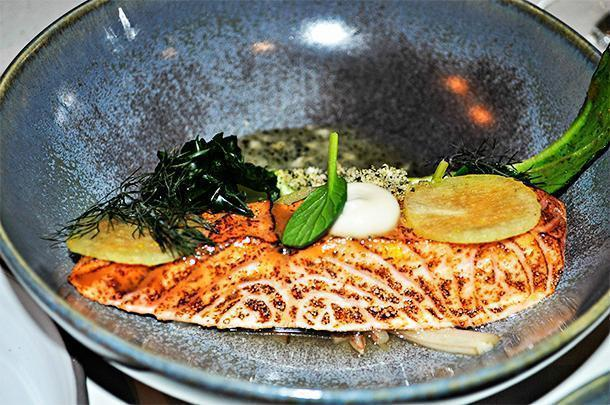 Torched salmon served with Japanese vegetables and radish