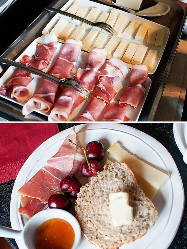 Breakfast was a showcase of Auvergne's finest meats and cheeses