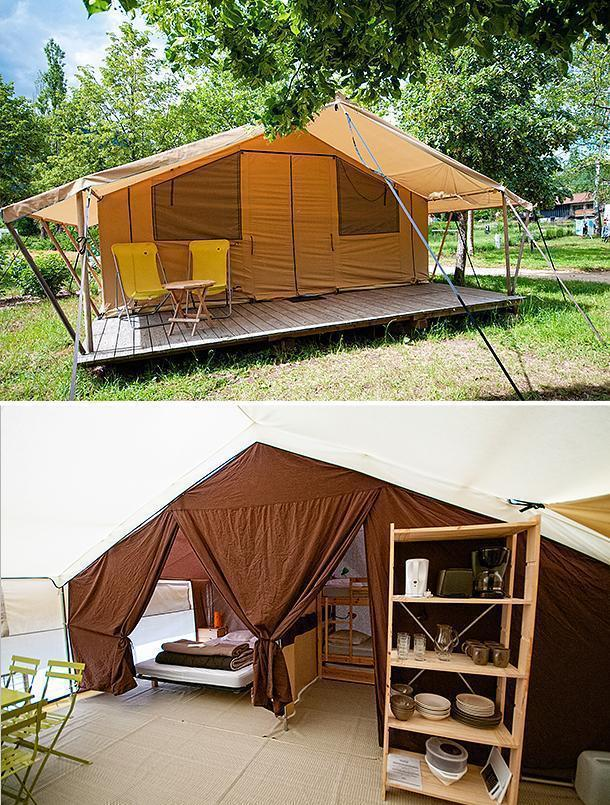 The Amazon tent is 'roughing it' at CosyCamp. Pass the espresso please!