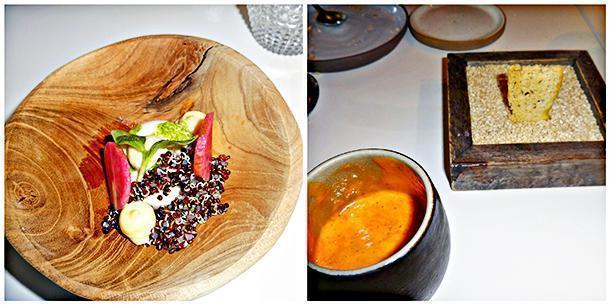 Mackerel mousse with black quinoa, and the shrimp broth served with focaccia on a bed of sesame seeds
