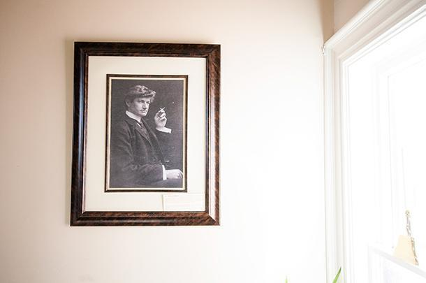 Bliss Carmen's photo hangs by the window that overlooks his former home in Fredericton