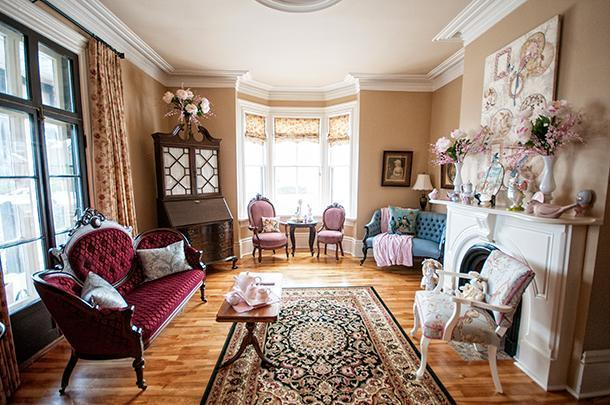 The beautiful sitting-room at Quartermain House, in Fredericton, NB