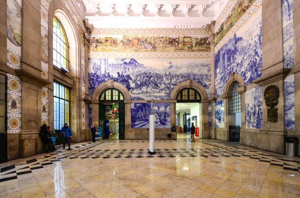 São Bento Railway Station is covered in beautiful tiles