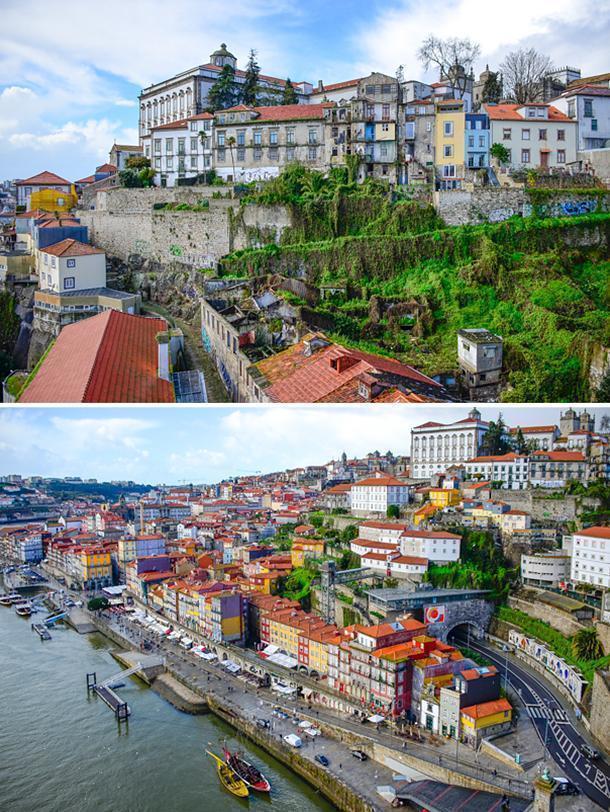a bird's eye view of Porto from Dom Luís I bridge