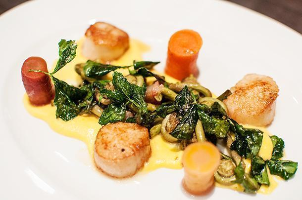 Scallops, fiddleheads, red clover, and pickled carrots