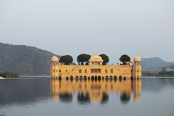 Take a hot air balloon ride over sites like the Jal Mahal, in Jaipur