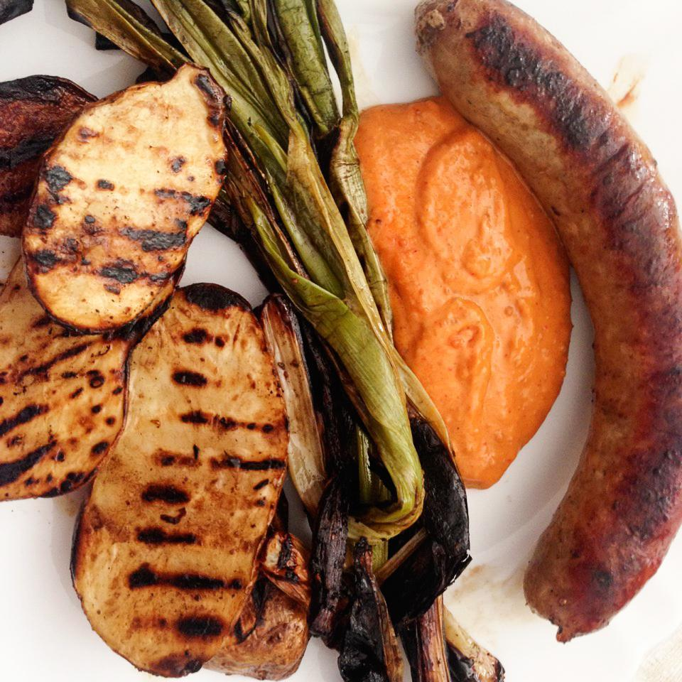 botifarra sausage and grilled veggies with Romesco sauce at a masia, near Barcelona