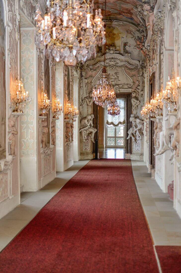 The interior of Ludwigsburg Palace. An easy day trip from Stuttgart, Germany.