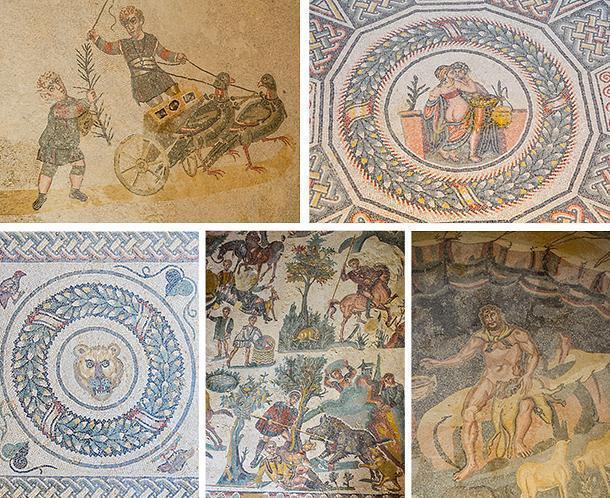 Beautiful mosaics at Villa Romana del Casale