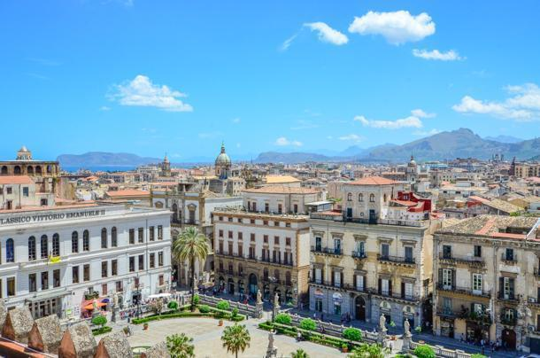 Bustling Palermo, from the roof of Palermo Cathedral