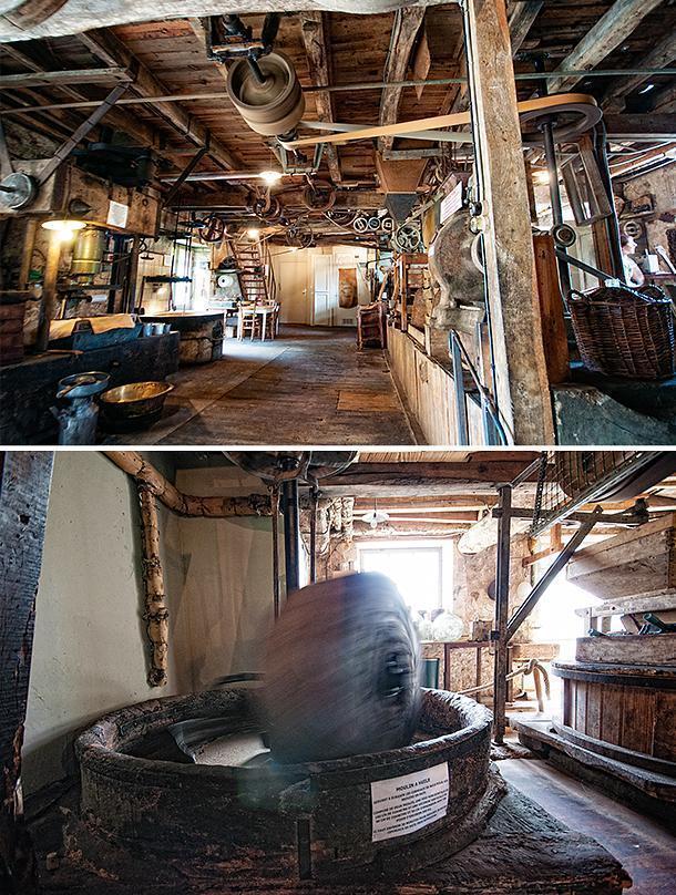 Ancient techniques create a wonderful end product at The postcard pretty Moulin de la Veyssière Nut Oil Mill