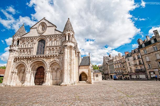 The ornate façade of Church of Notre-Dame la Grande, Poitiers