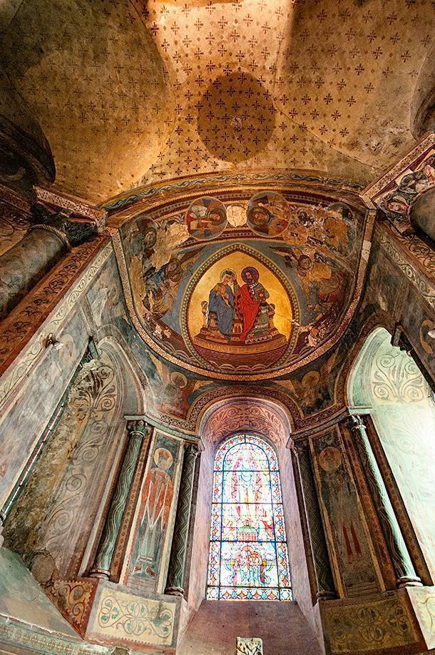 Guilt frescoes inside the church