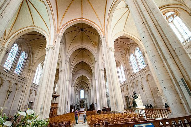 Inside the vaulted cathedral of Poitiers