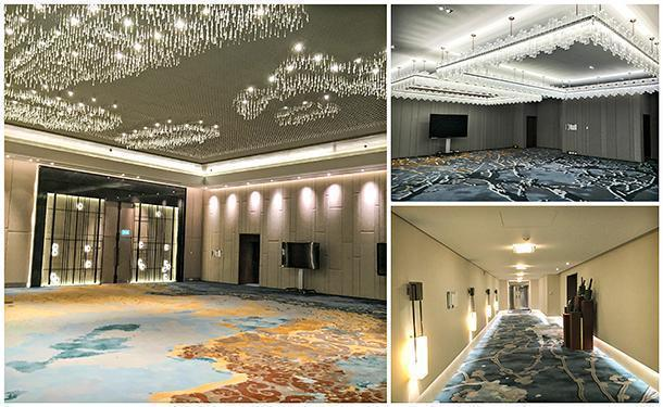 The larger Imperial Ballroom and the smaller Royal Ballroom with their spectacular chandeliers and fine carpets