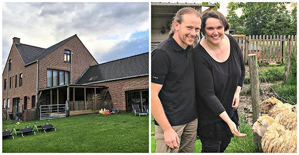 The proud owners of Hoevehotel Ronse, Bert and Vero, with their property