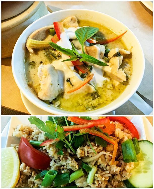 Chicken in green curry and vegetable fried rice