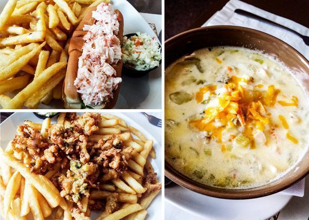 Seafood chowder, fried clams, and a lobster roll in St. Martins