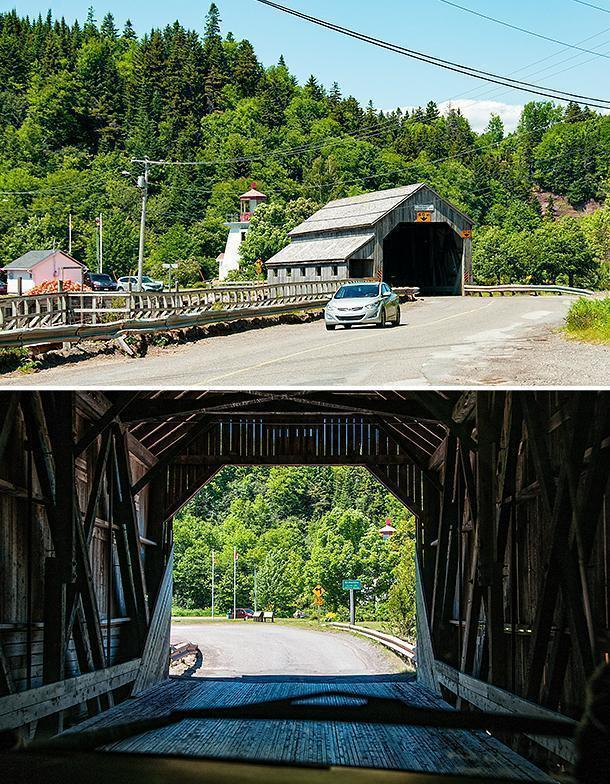 Driving through one of St. Martins' covered bridges in our motorhome, Yeti!