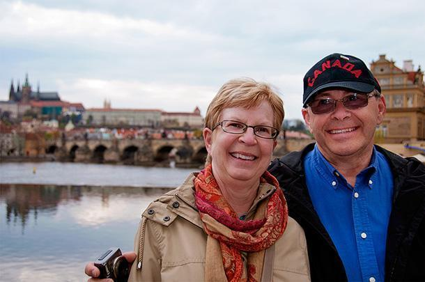 How I'll remember Dad best - with my mom on their travels, with his hat and a smile