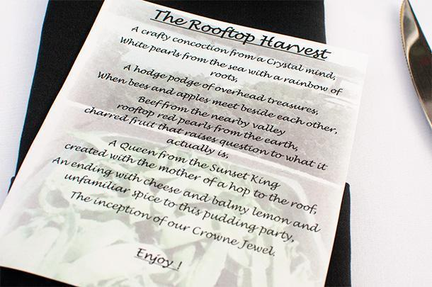 A menu or a riddle for our harvest dinner at the Crowne Plaza Fredericton