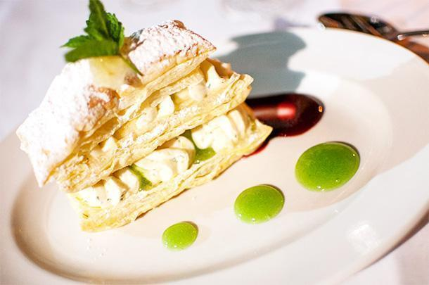 Jalapeno and lemon balm cheesecake, mille-feuille