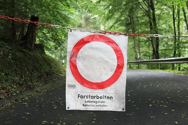 Forest works. Life danger. Access forbidden