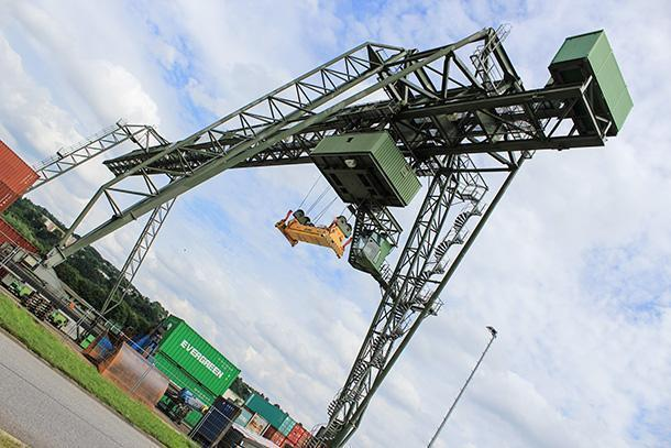 Back to civilisation - industrial crane in the port of Trier
