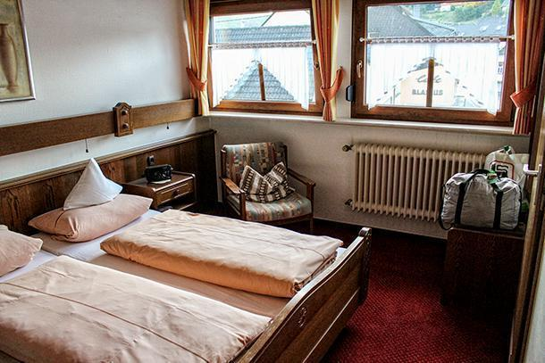 My retro-style room at Hotel Zur-Krone Birresborn, Germany