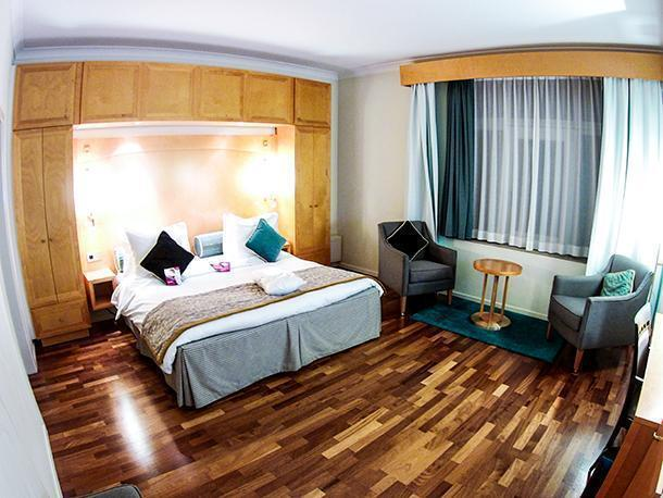 The warm and comfortable room at the Crowne Plaza Hotel in Brussels, Belgium