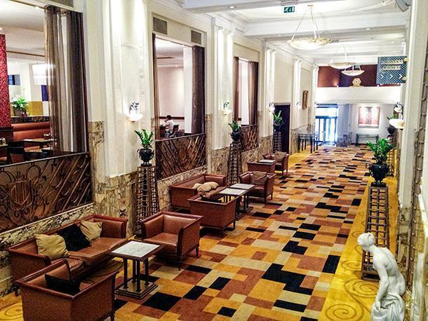 Inside the Crowne Plaza Hotel's lobby, Brussels, Belgium