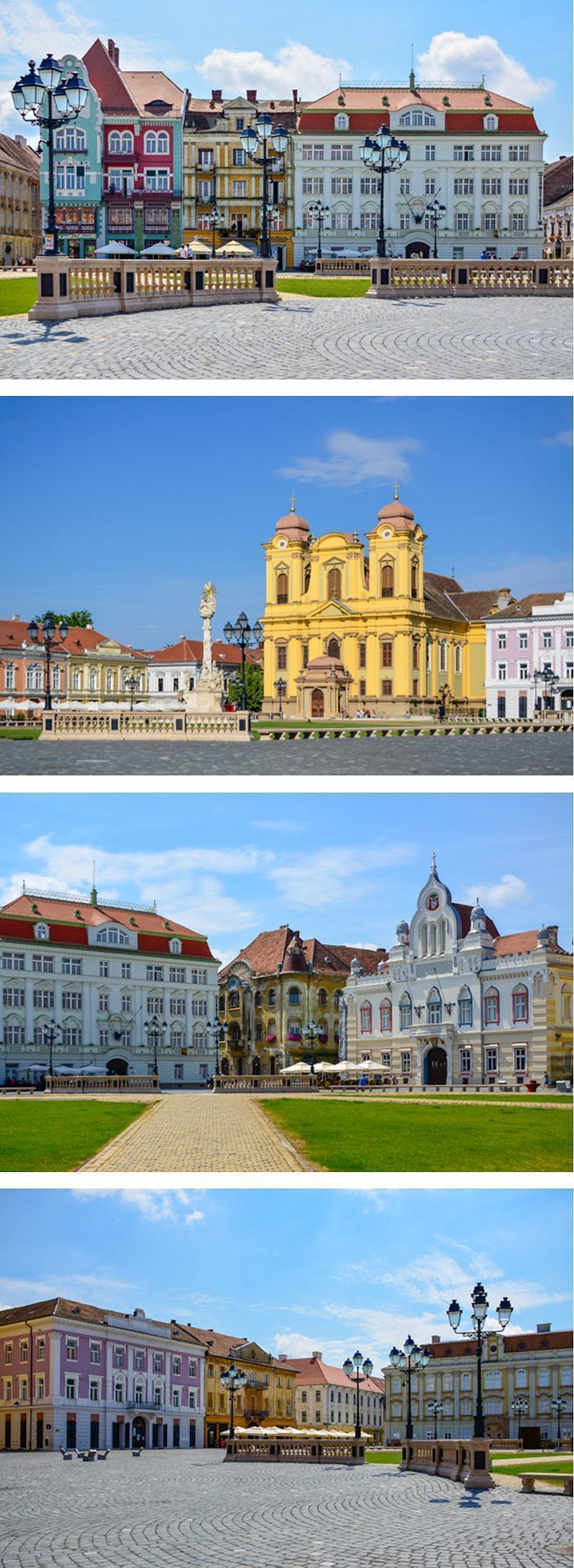 Beautifully restored Unirii Square, Timisoara