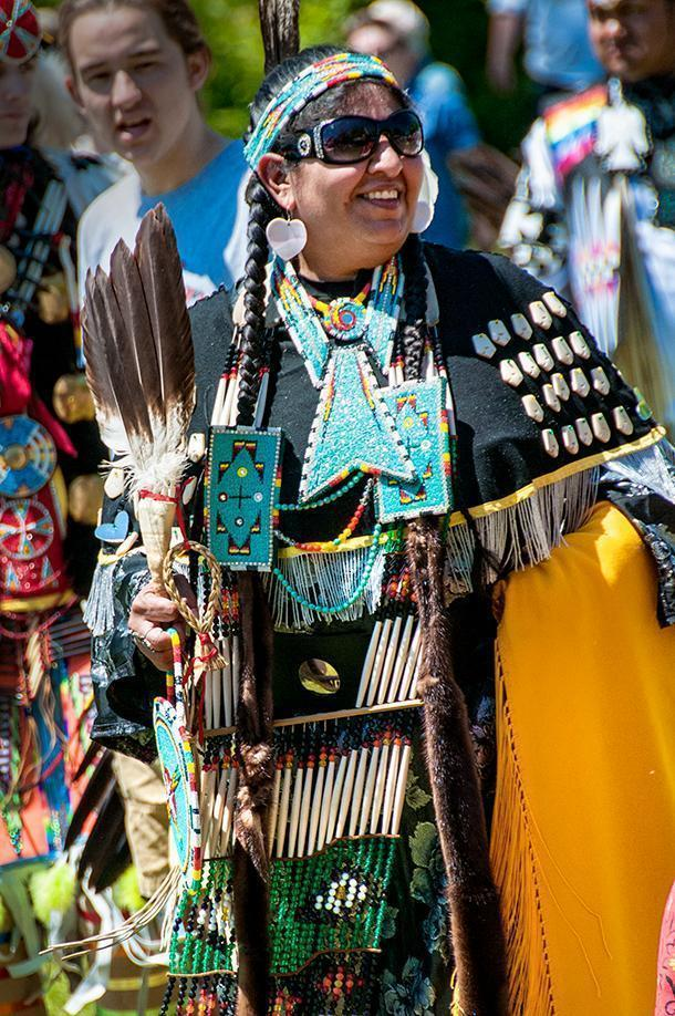 Women's Traditional costumes include plenty of natural elements and beadwork