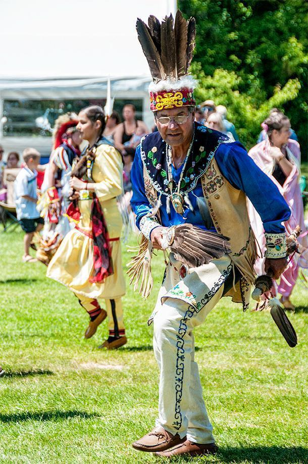 A men's traditional dancer at the Saint Mary's Powwow in Fredericton, NB