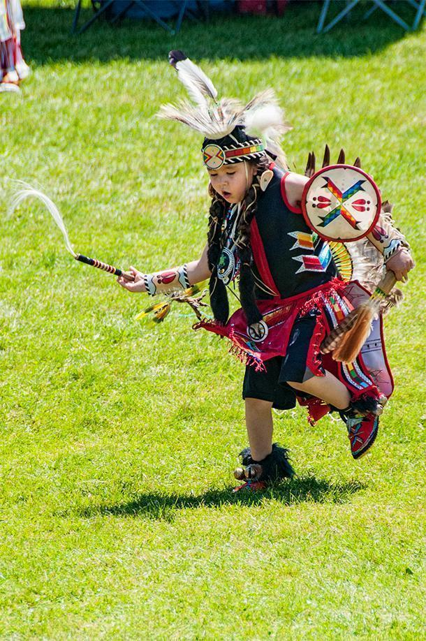 One of the youngest competitors at the Powwow