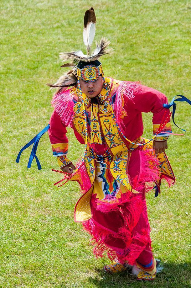 Men's Fancy Dancers' regalia is the most colourful and the dance is incredibly high energy.