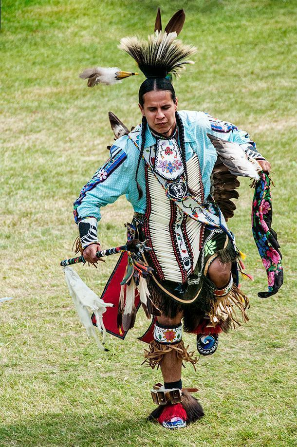 A competitive dancer at the Saint Mary's Powwow