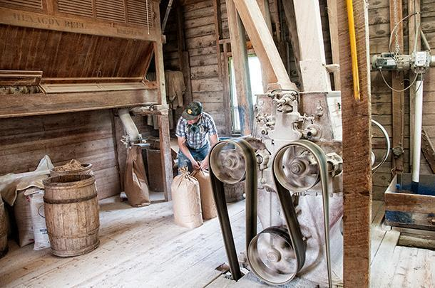 Milling buckwheat the old-fashioned way, at Corriveau Industries