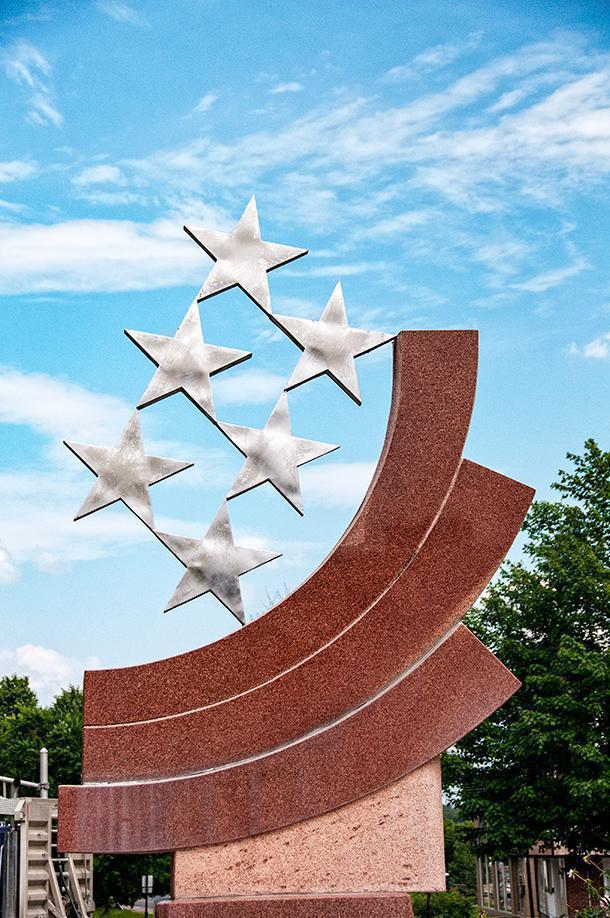 The 6 stars represent the six founding nations of Edmundston, NB