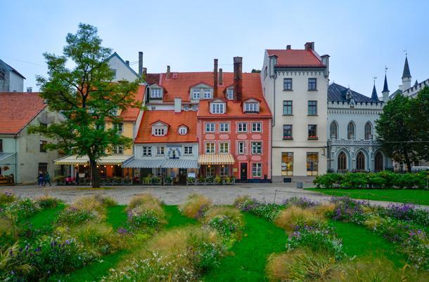 Līvu Square is the colourful hub of central Riga, Latvia