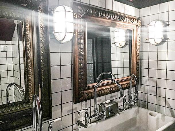 Restroom interior of Jamie's Italian Restaurant, Leeds, England