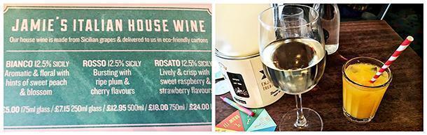 The wine menu at Jamie's Italian, in Leeds, England.