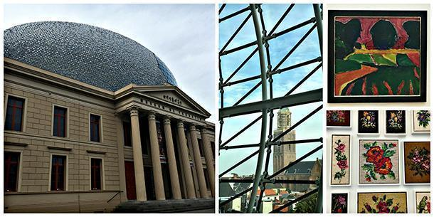 Museum de Fundatie: view from the dome of the Peper bus, a tower of the Basilica of Our Lady, nicknamed because of its shape. Upper Right: expressionist artwork. Lower Right: Robert Schulte's embroidery collection.